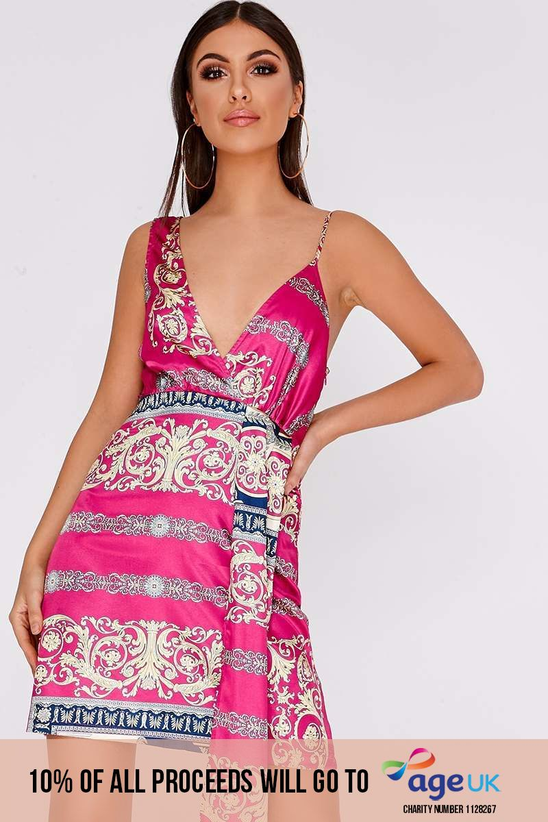 pink printed satin mini dress