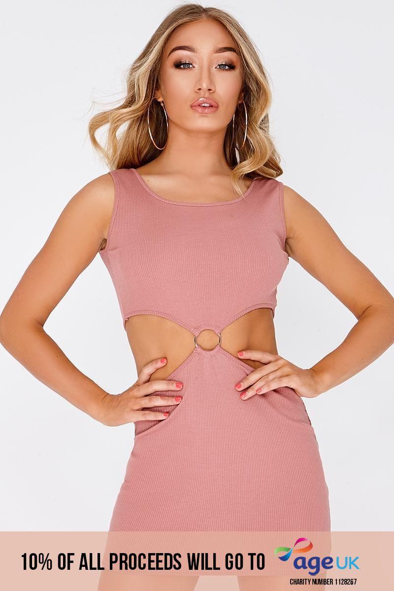 CADEY ROSE PINK RING DETAIL KEY HOLE MINI DRESS
