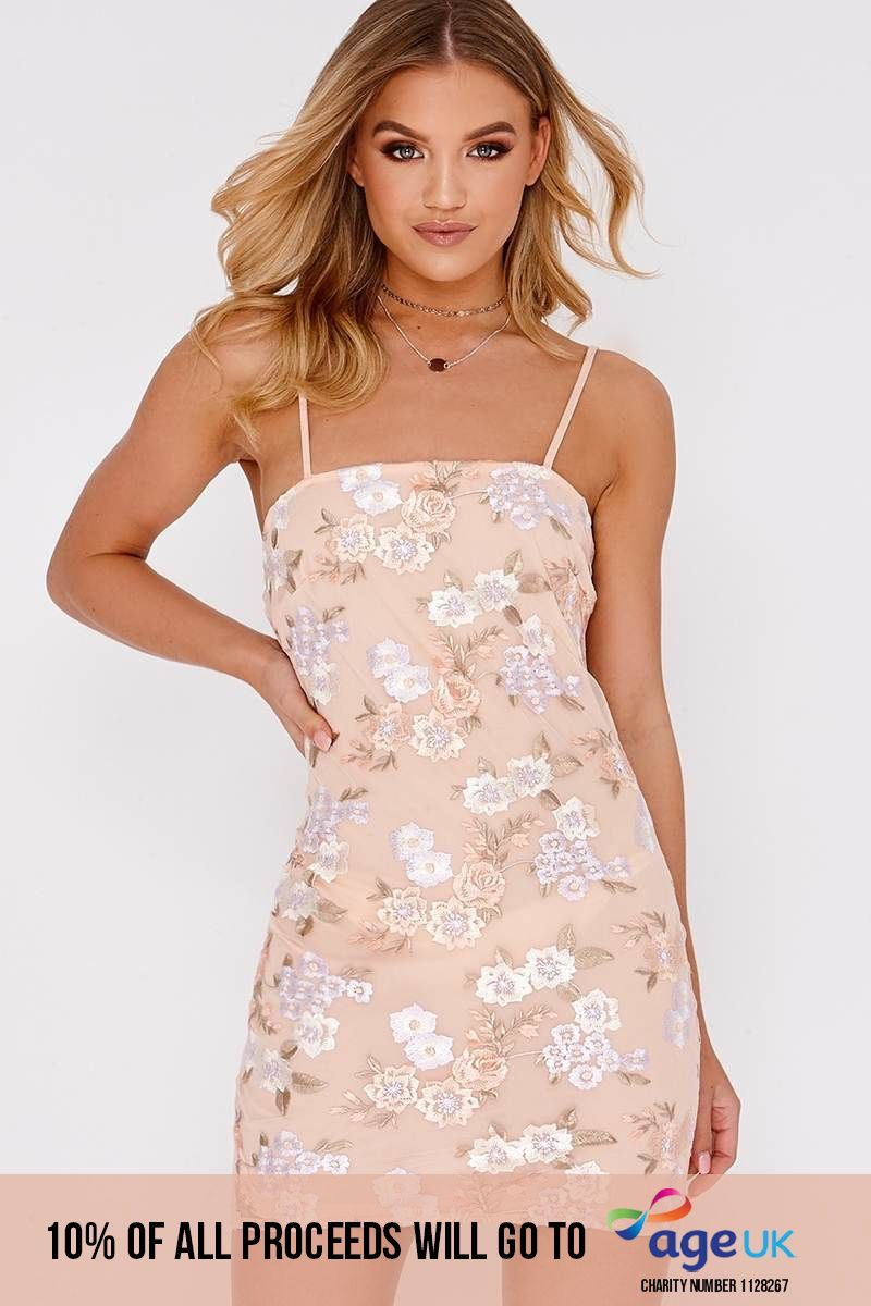 pink floral embroidered cami bodycon dress