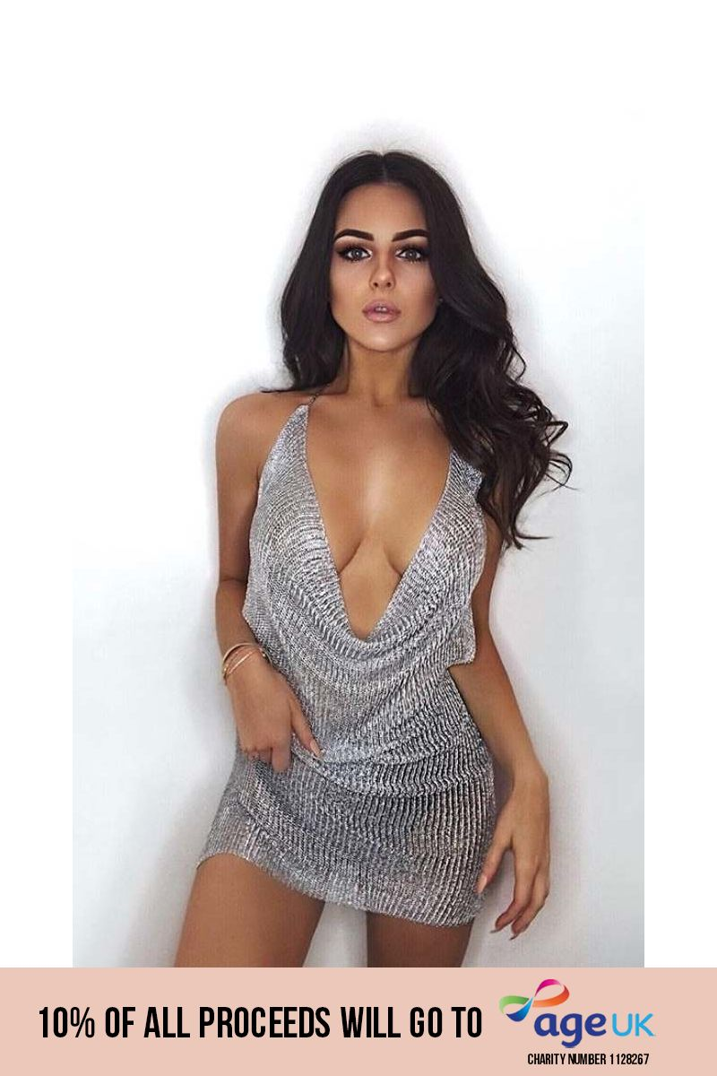 silver cowl neck metallic knit mini dress