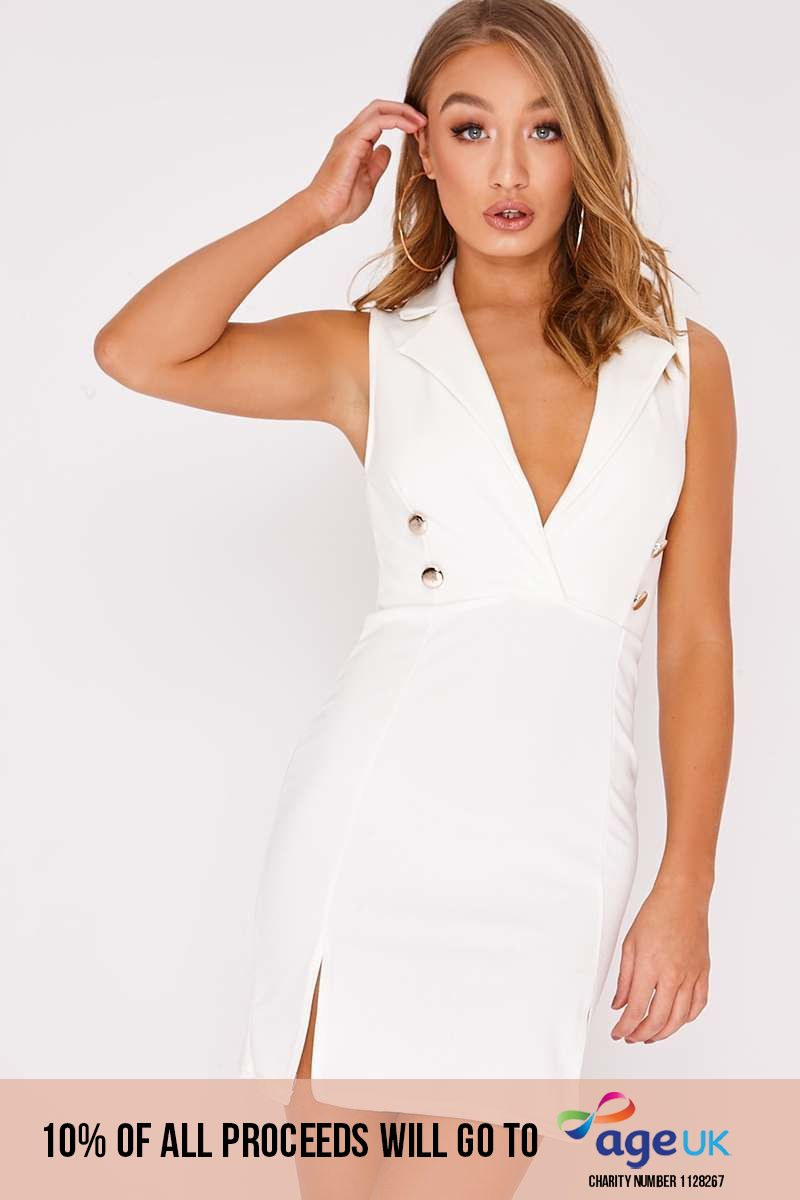 DOLY WHITE SLEEVELESS BLAZER DRESS