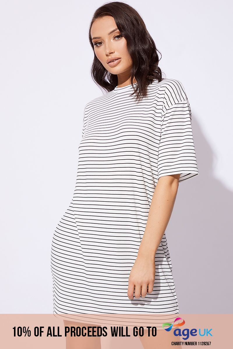 basic white striped ribbed t shirt dress
