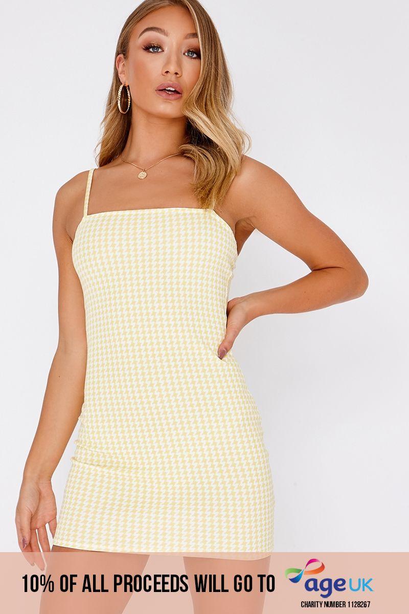yellow gingham square neck bodycon dress