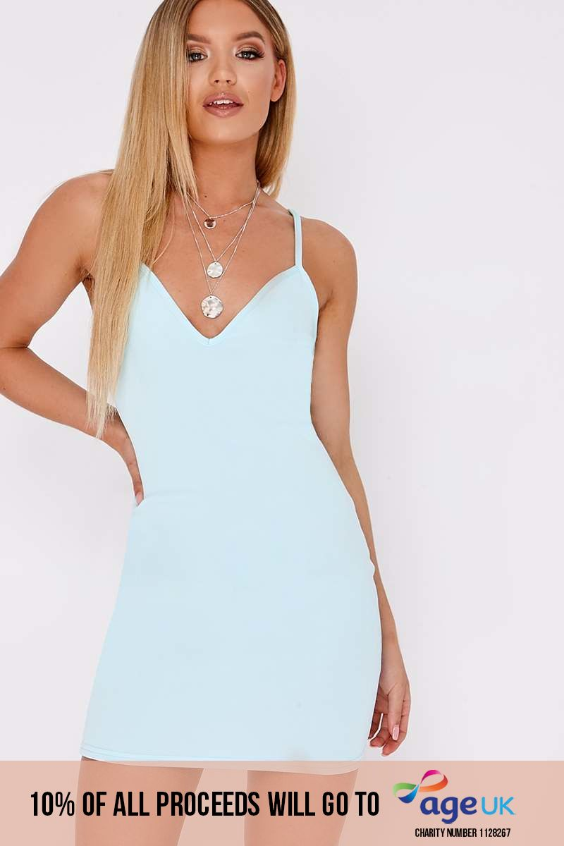 BASIC BLUE SCUBA PLUNGE BODYCON DRESS