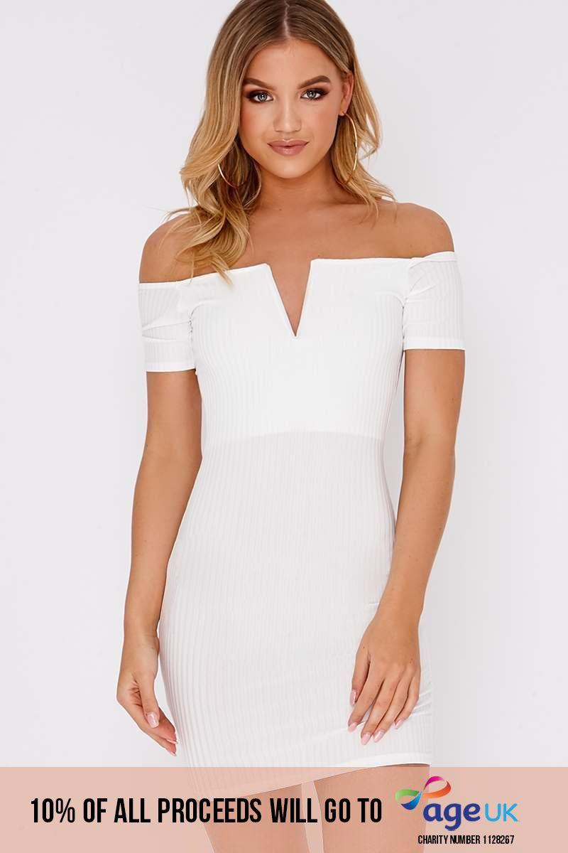 cream plunge ribbed bardot mini dress