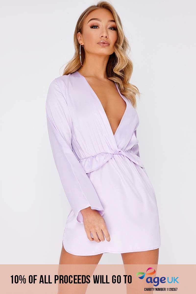 lilac satin plunge frill dress