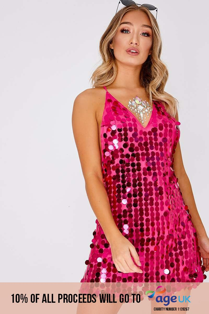 GIORGIA HOT PINK IRIDESCENT SEQUIN PLUNGE DRESS
