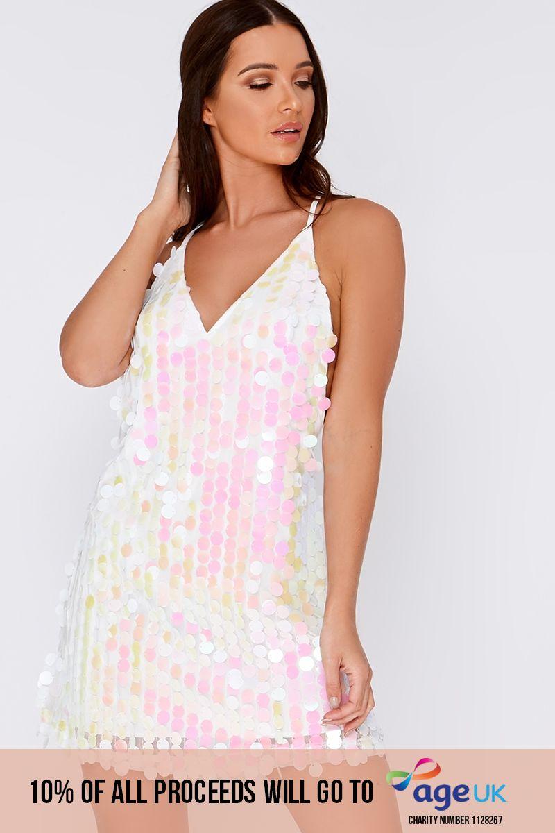 white iridescent sequin plunge dress