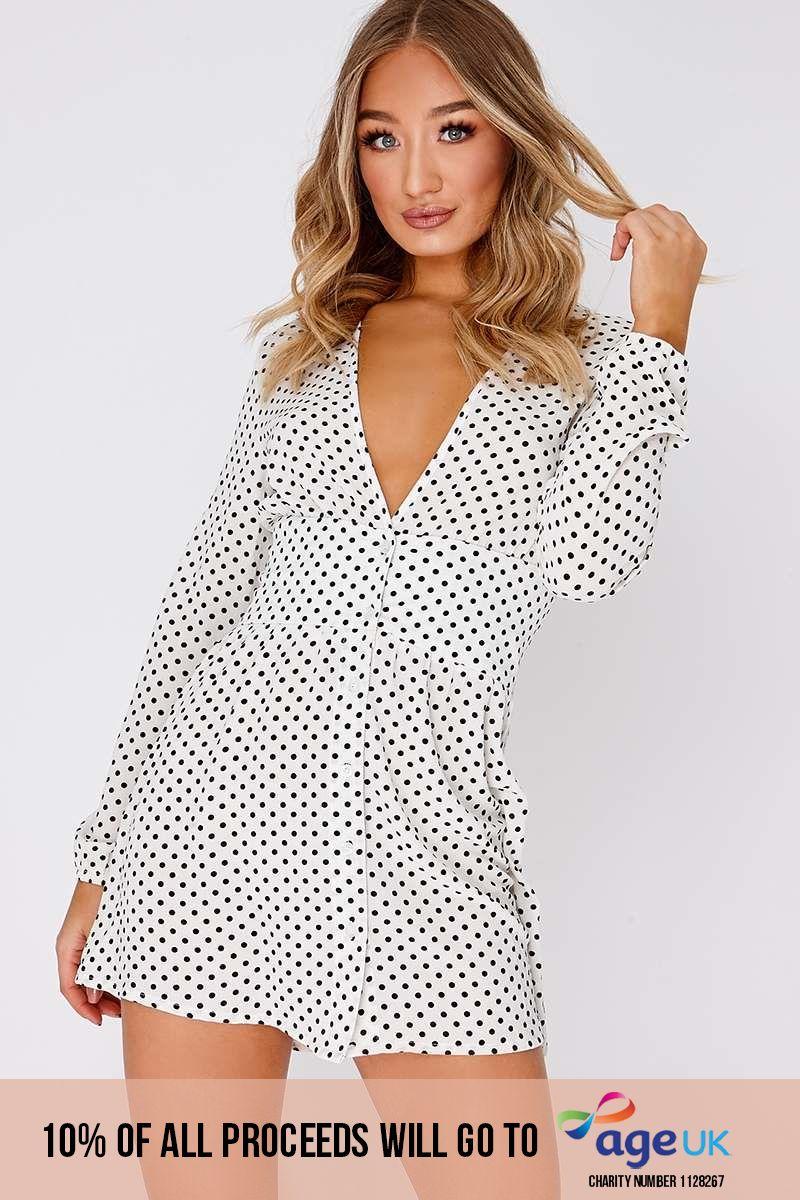 white polka dot plunge mini dress