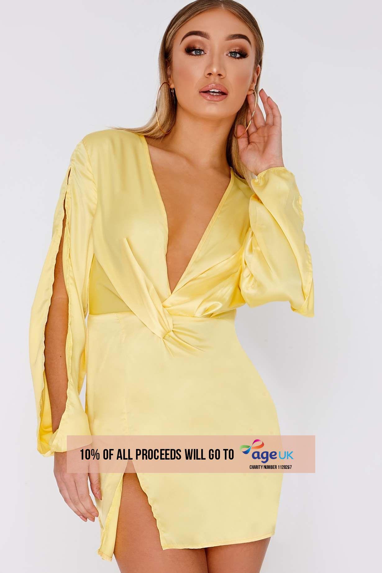 CIANNA LEMON SATIN SPLIT SLEEVE PLUNGE DRESS
