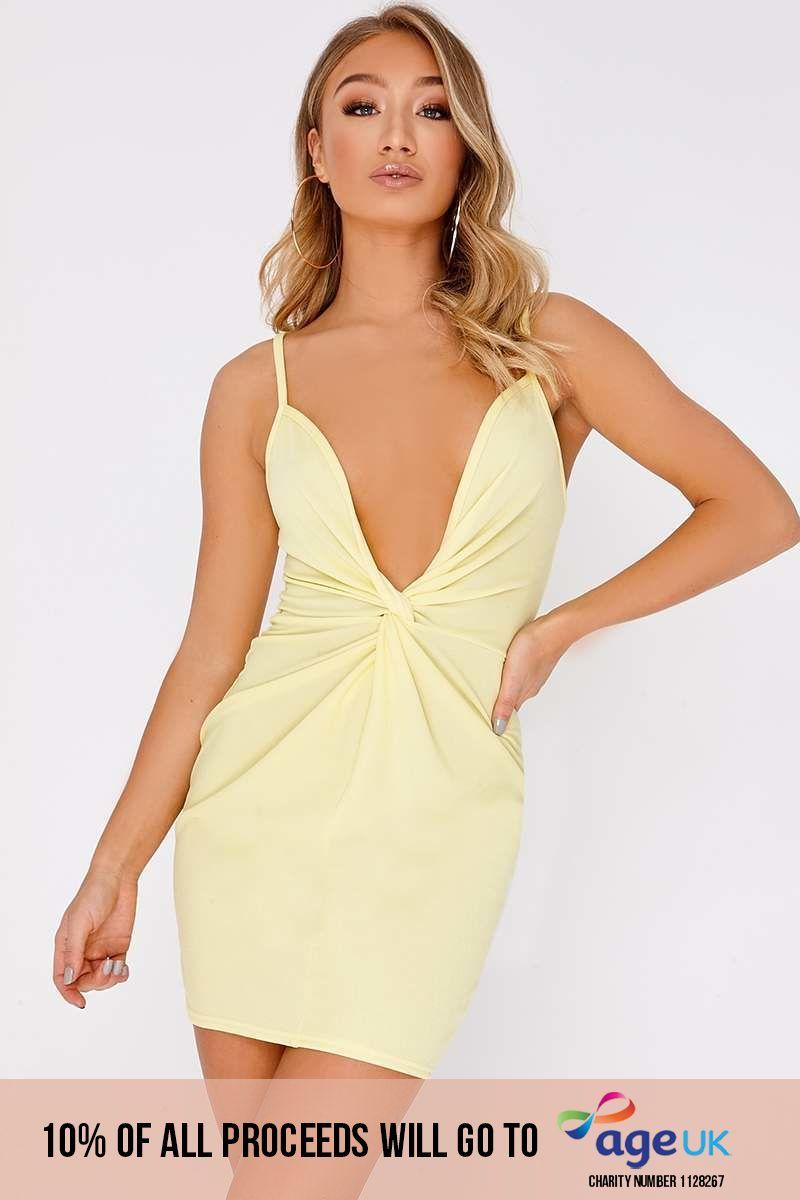 lemon twist front plunge mini dress