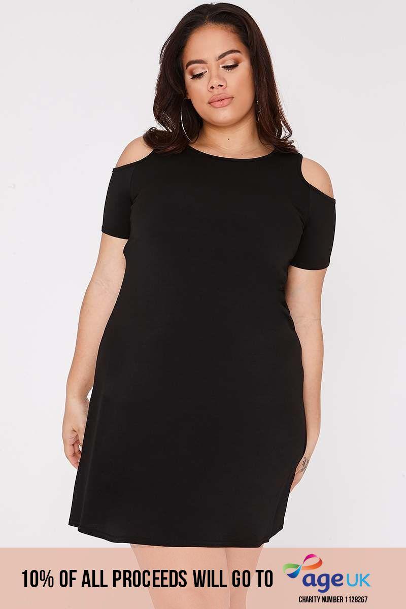 CURVE LYNDSEY BLACK COLD SHOULDER DRESS