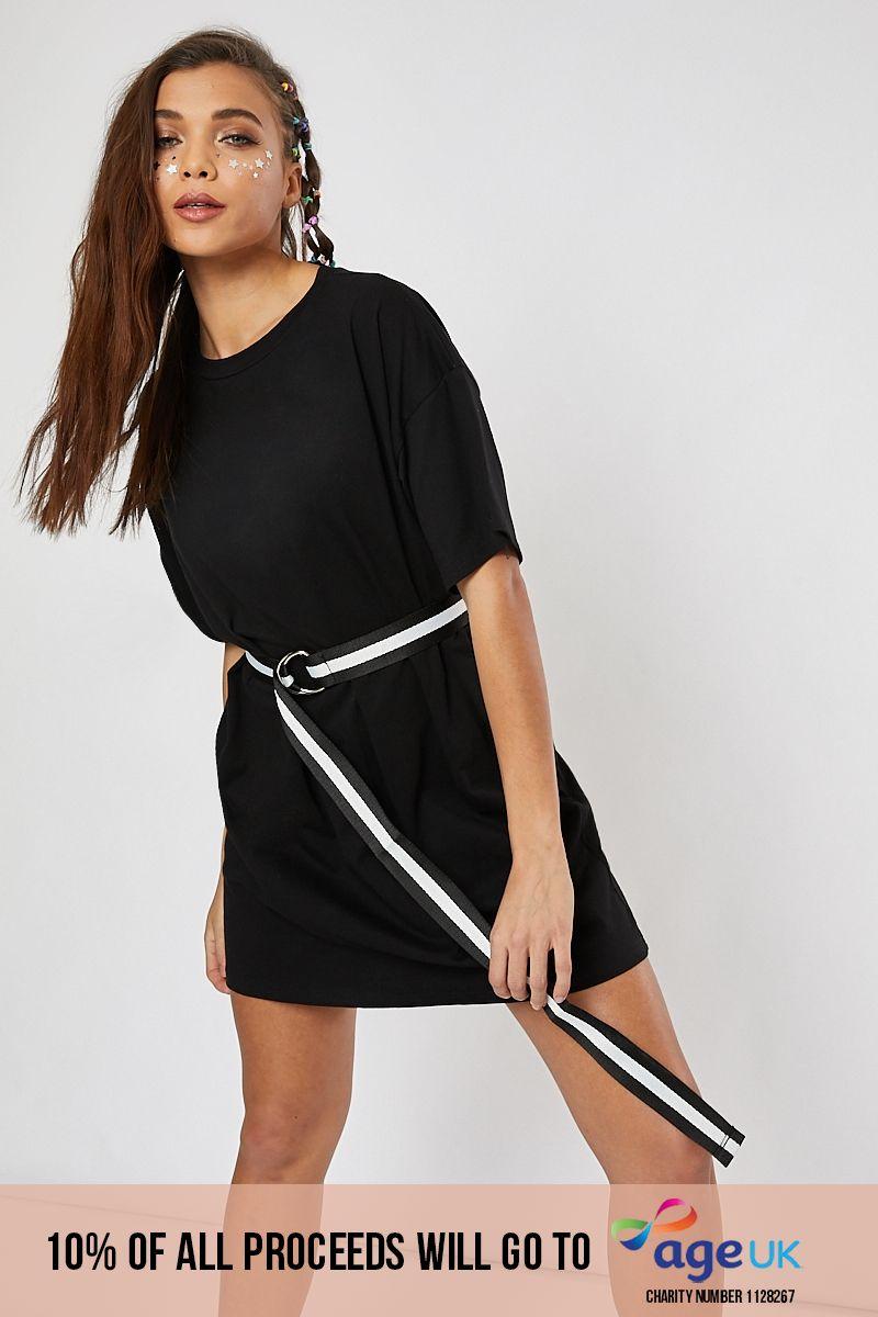 black basic t shirt lounge dress