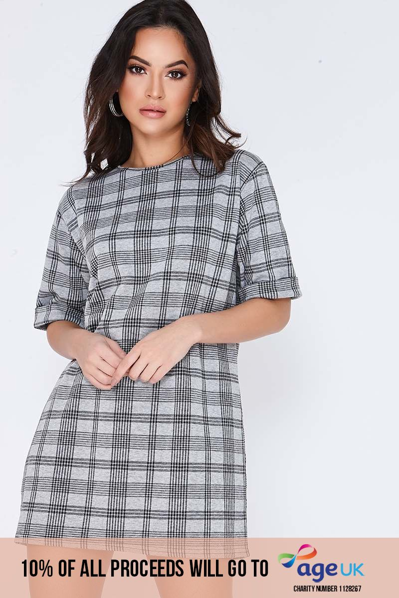 EBONI GREY CHECKED T SHIRT DRESS