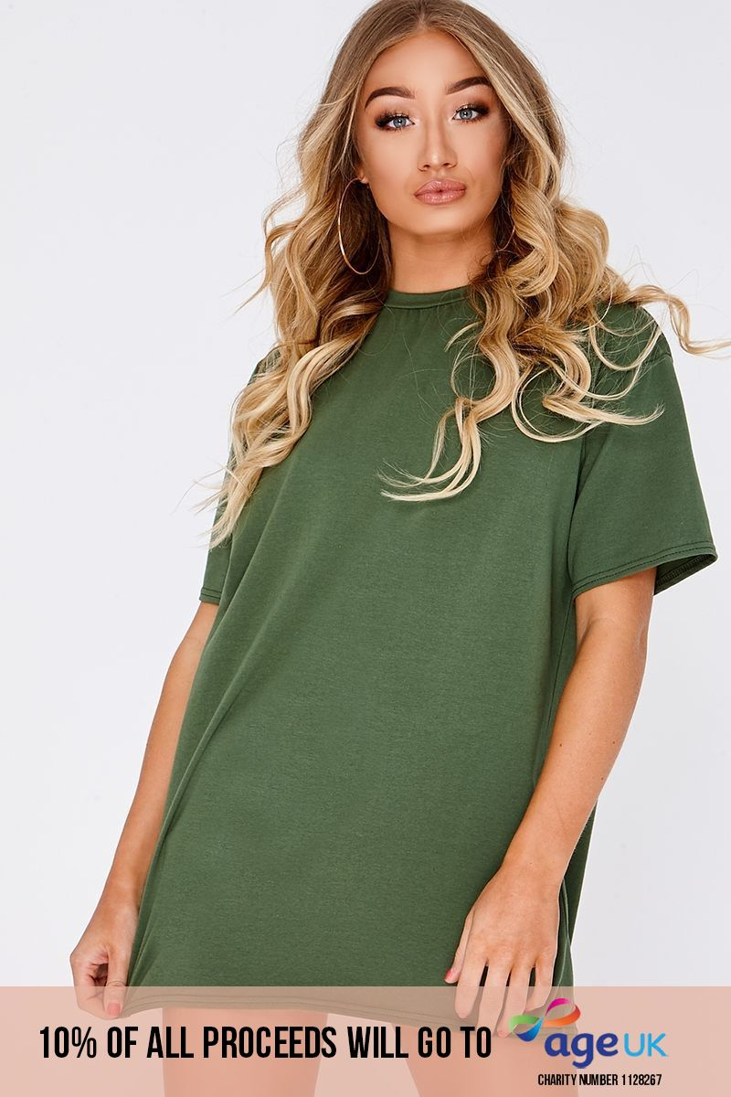 khaki basic t shirt dress