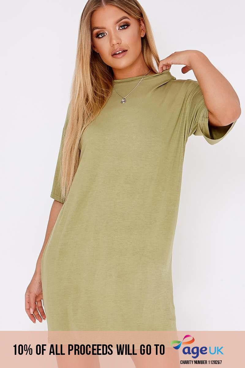 BASIC KHAKI JERSEY OVERSIZED T-SHIRT DRESS