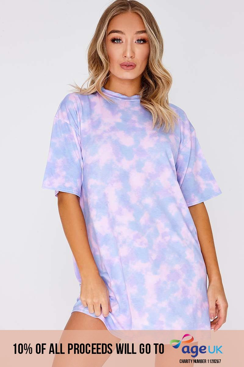 FAYTHE LILAC TIE DYE OVERSIZED T SHIRT DRESS