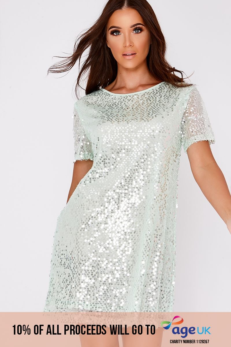 mint sequin t shirt dress