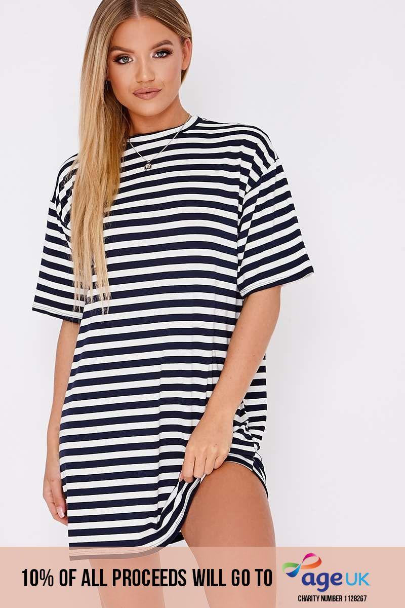 NAVY STRIPE OVERSIZED T-SHIRT DRESS