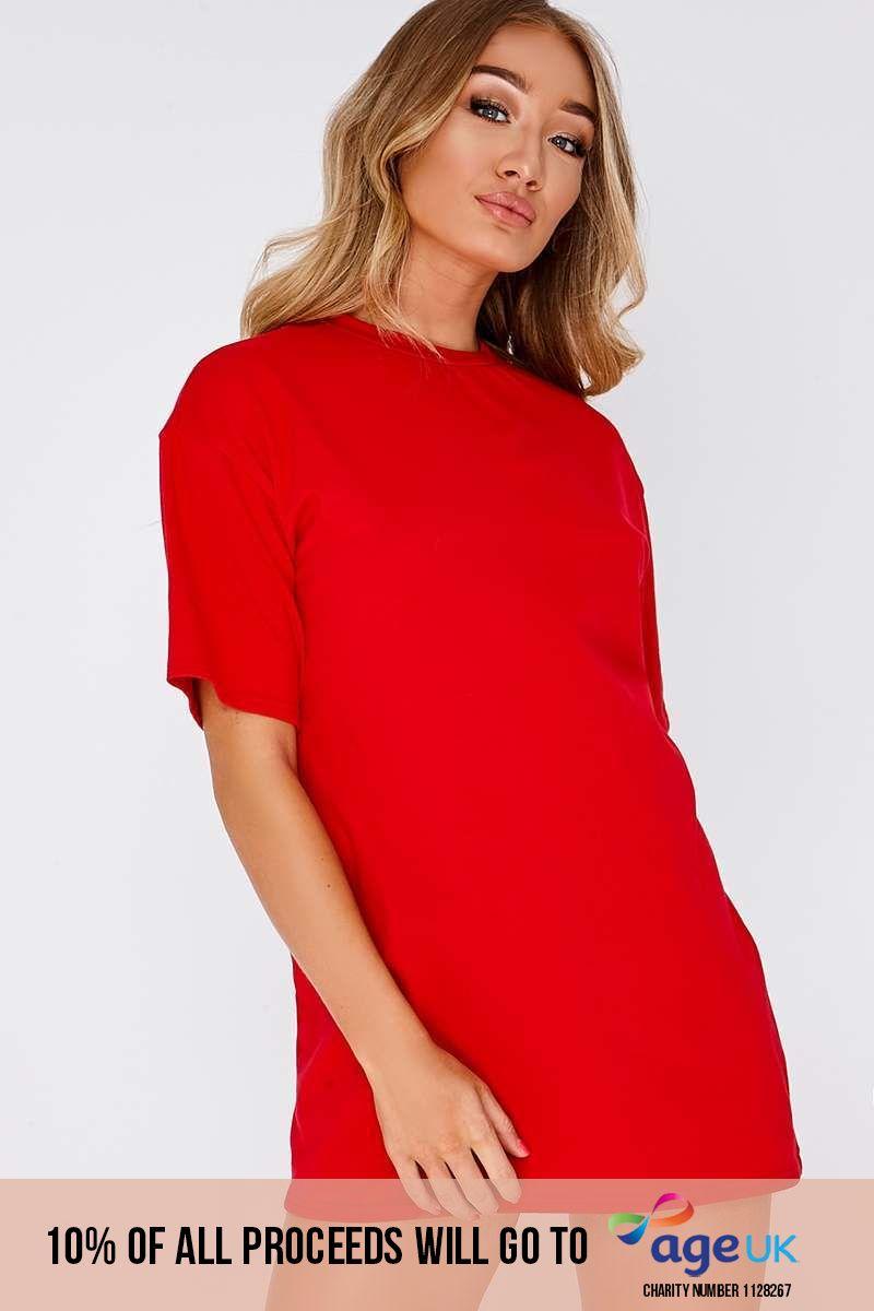 red basic t shirt dress