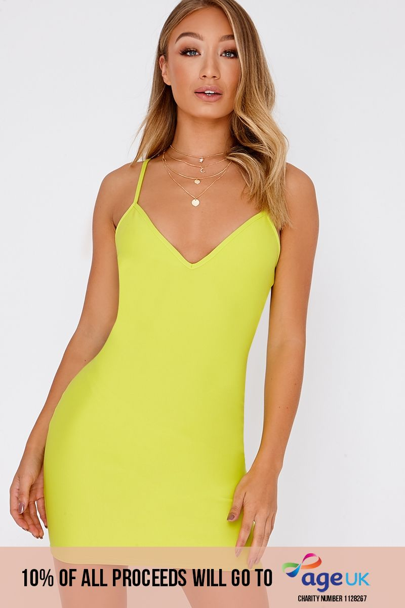 BASIC LIME SCUBA PLUNGE STRAPPY BODYCON DRESS