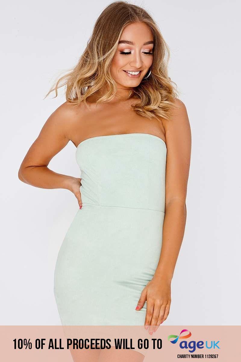 mint faux suede bandeau dress
