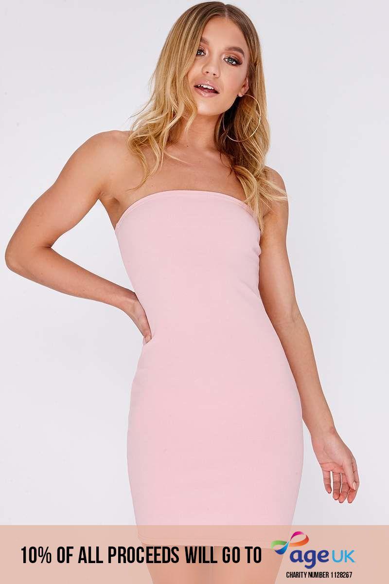 rose pink bandeau mini dress