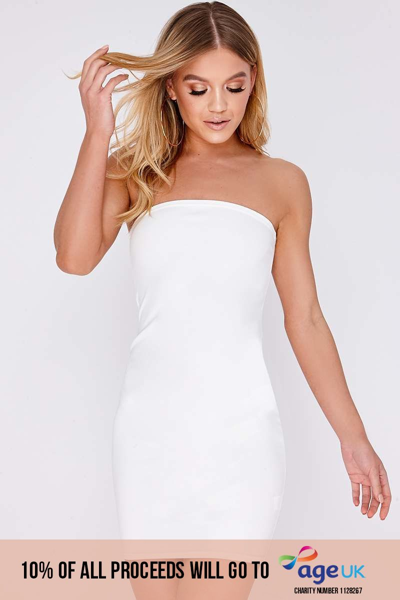 EVANIA WHITE BANDEAU MINI DRESS