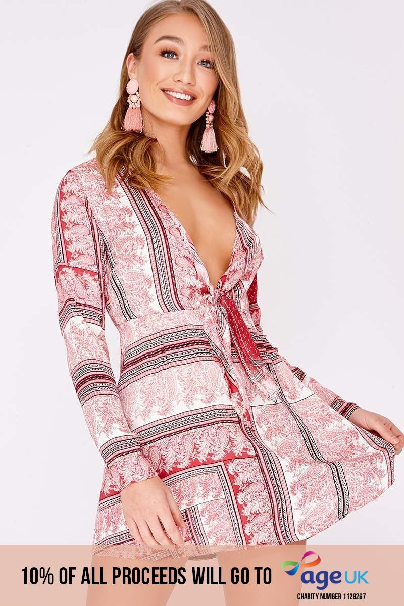 DEVIN PINK SCARF PRINT SILKY TIE FRONT DRESS