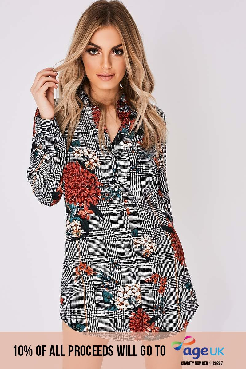 floral checked shirt dress