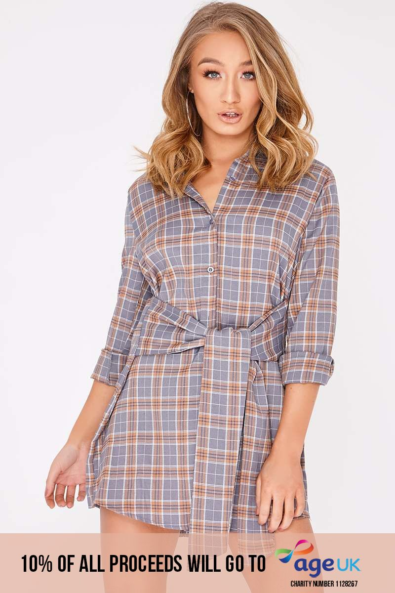 grey checked wrap shirt dress