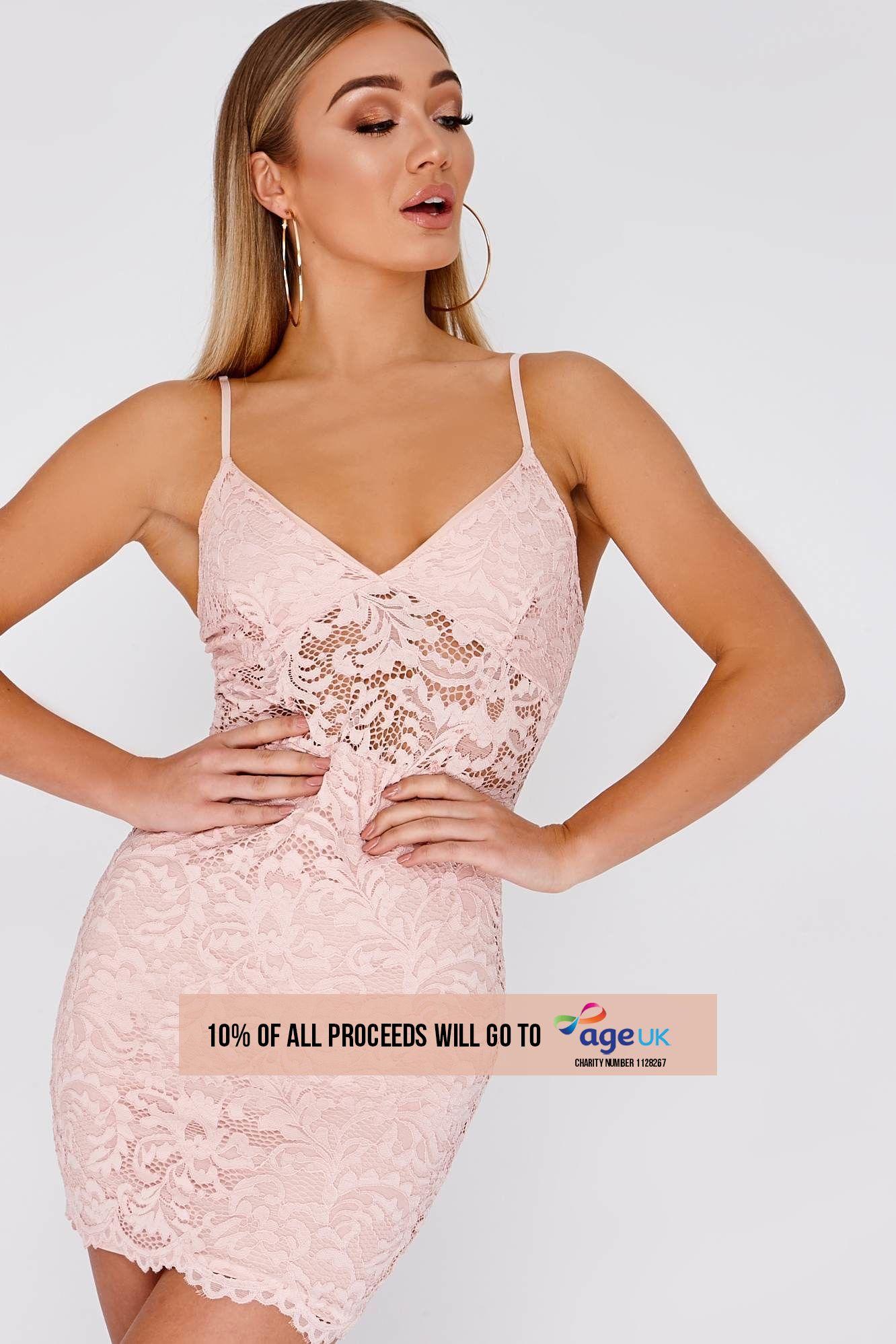 nude lace plunge mini dress