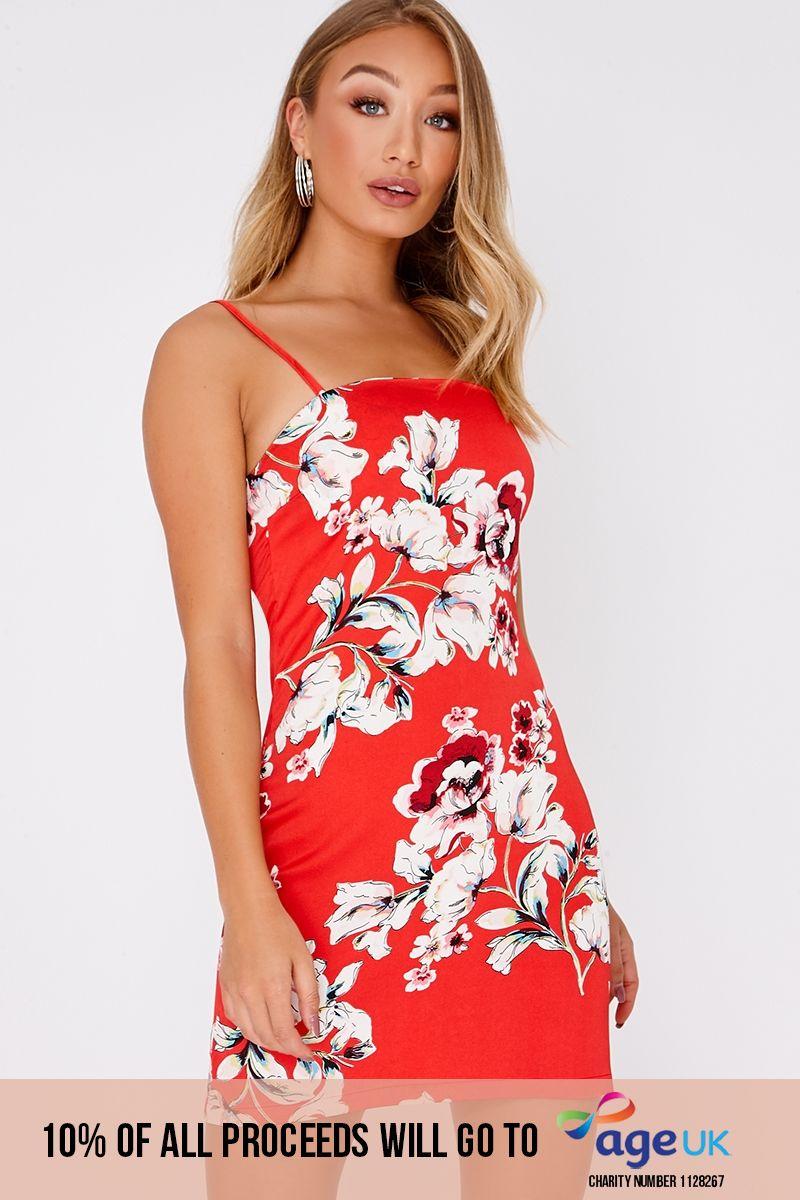 red floral satin square neck mini dress
