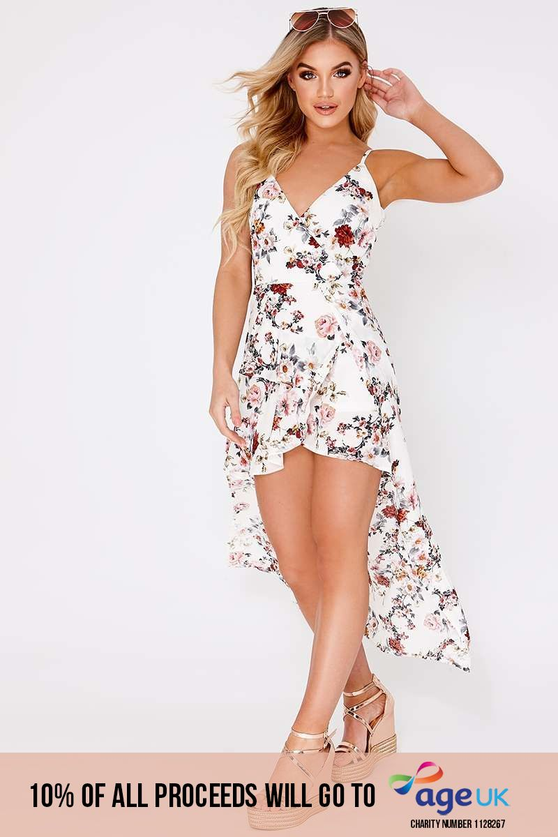 white floral overlay maxi dress