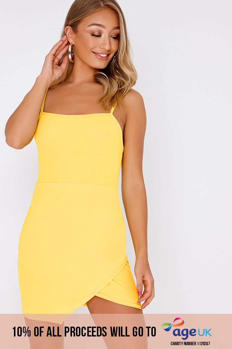yellow lace up back bodycon dress