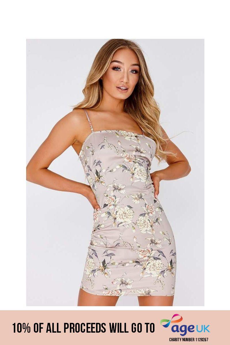 beige floral satin square neck slip dress