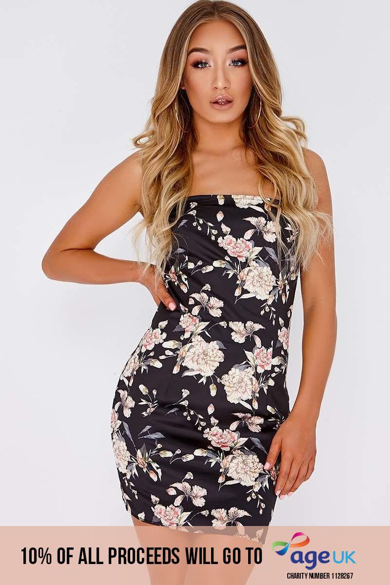 black floral satin square neck slip dress