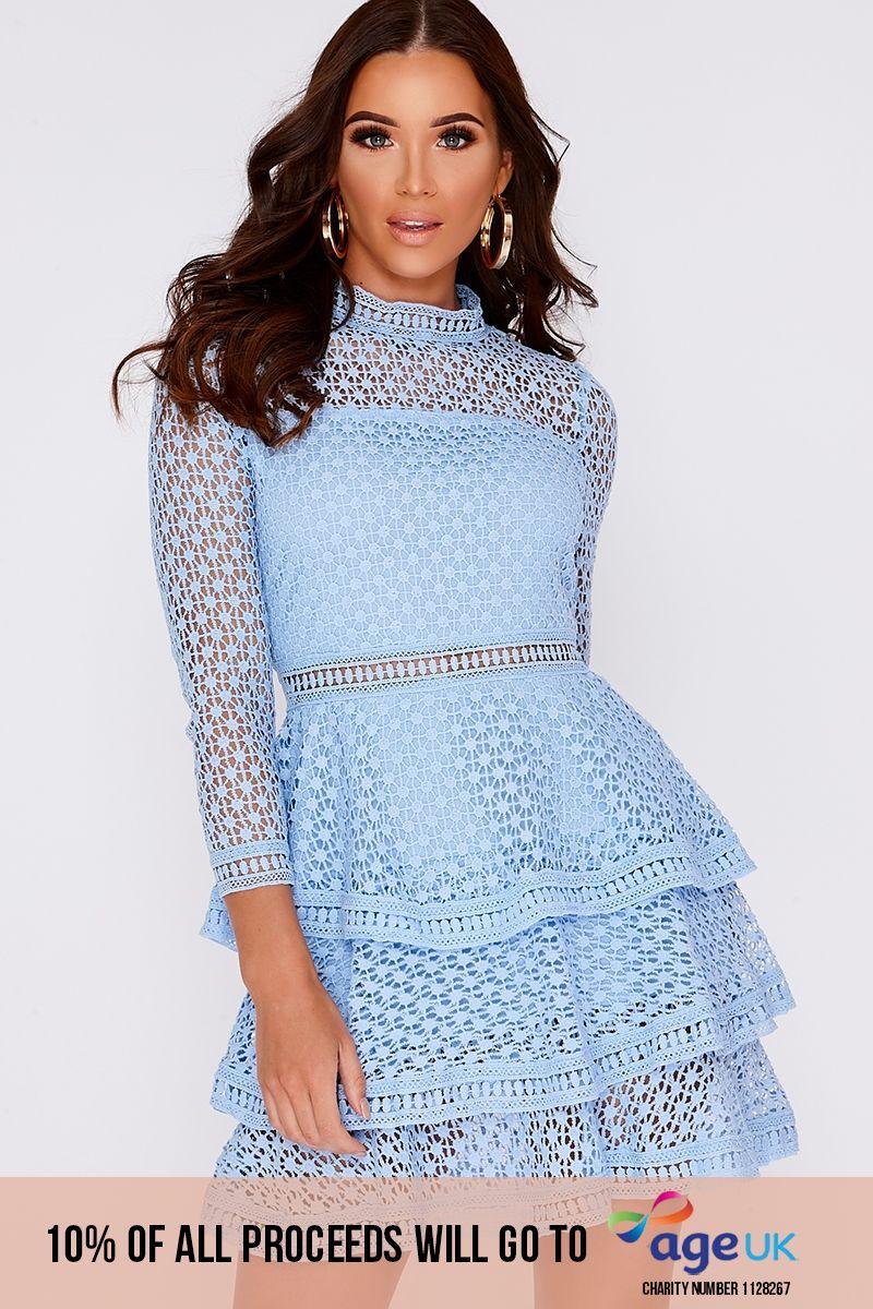 AMYA BLUE CROCHET LACE LAYERED DRESS