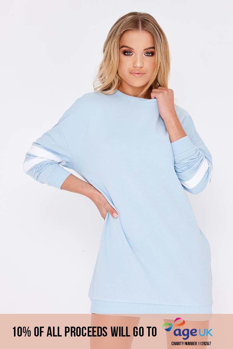 blue sports stripe sweater dress
