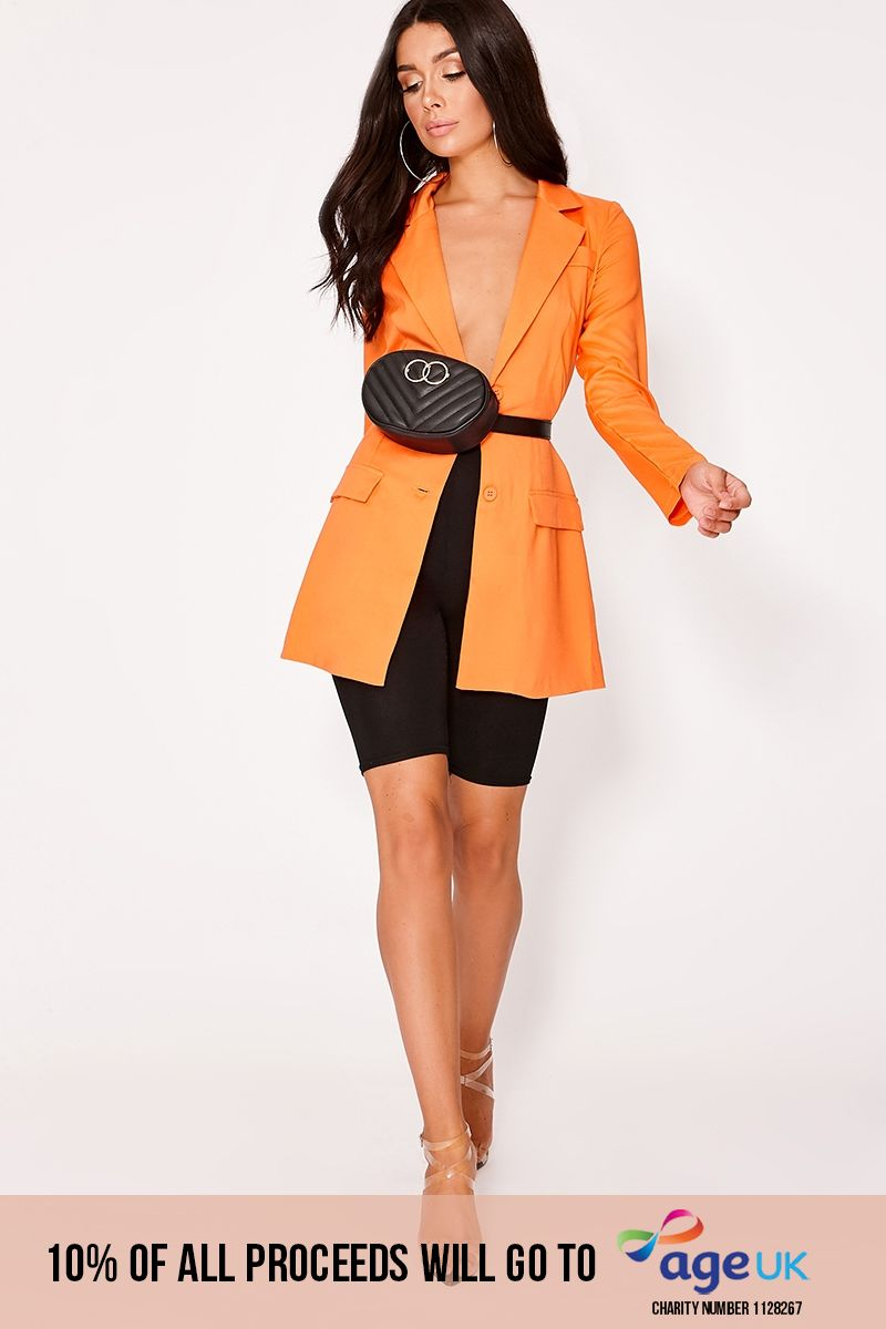 orange plunge structured longline blazer