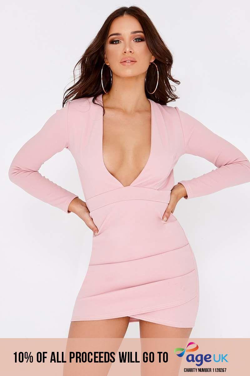rose plunge backless long sleeve dress