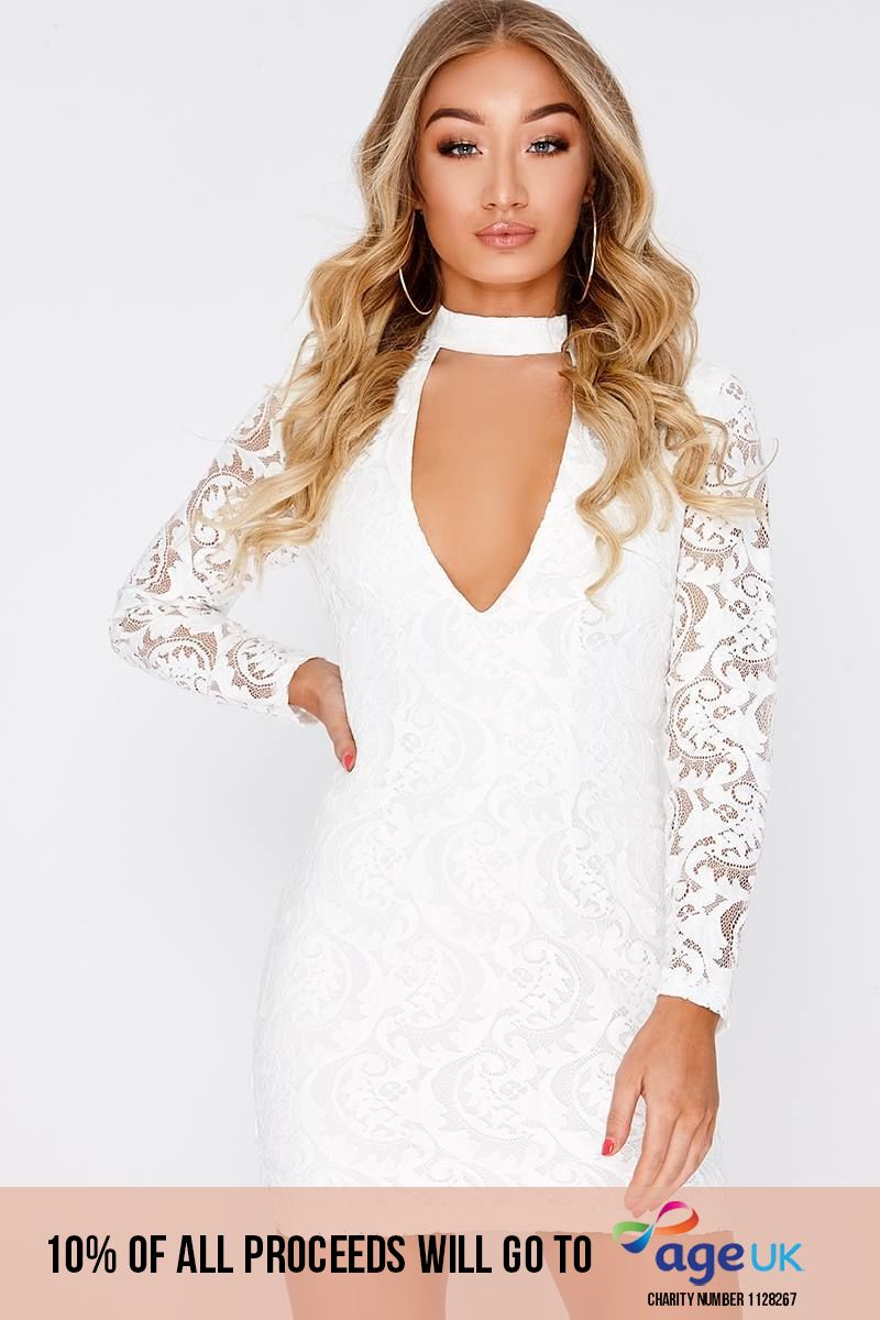white lace plunge long sleeve dress