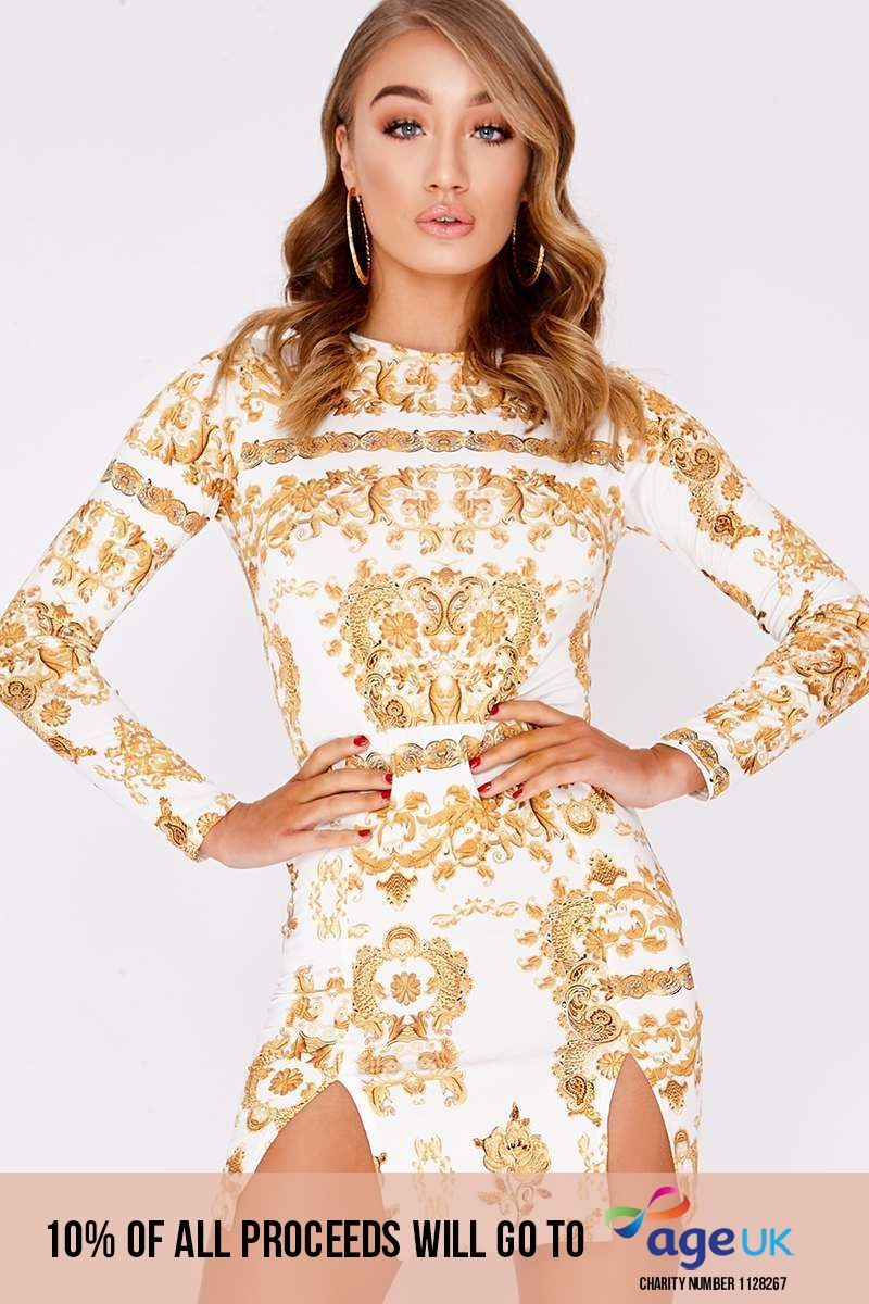 white chain print long sleeve bodycon dress