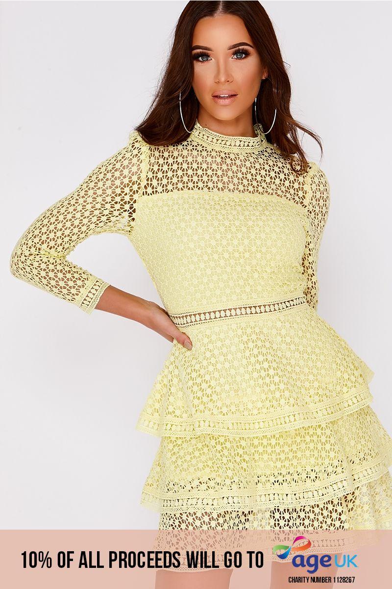 lemon crochet lace layered dress