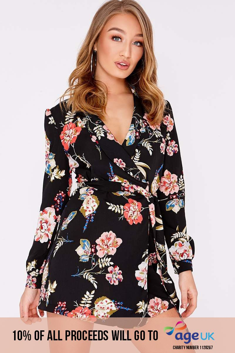 CECI BLACK FLORAL BLAZER WRAP DRESS
