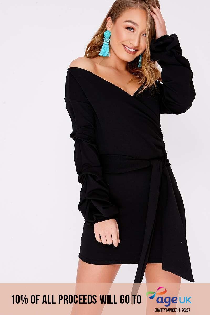 black ruched sleeve wrap dress