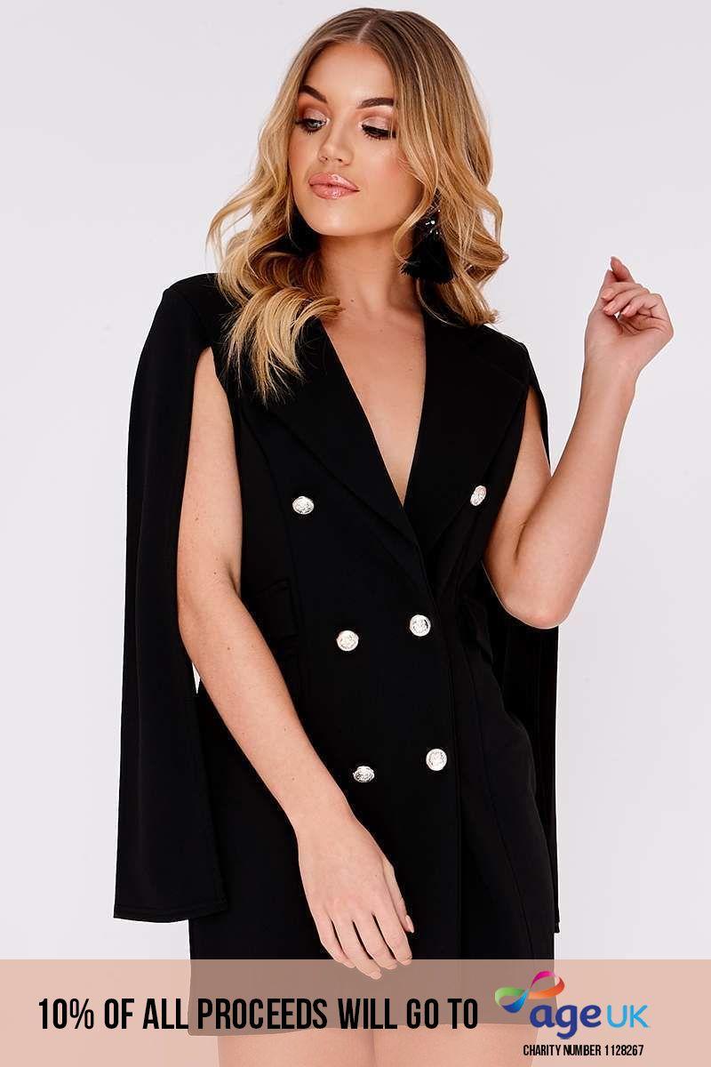 black split sleeve blazer dress
