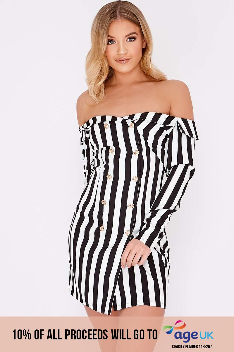 black stripe bardot blazer dress