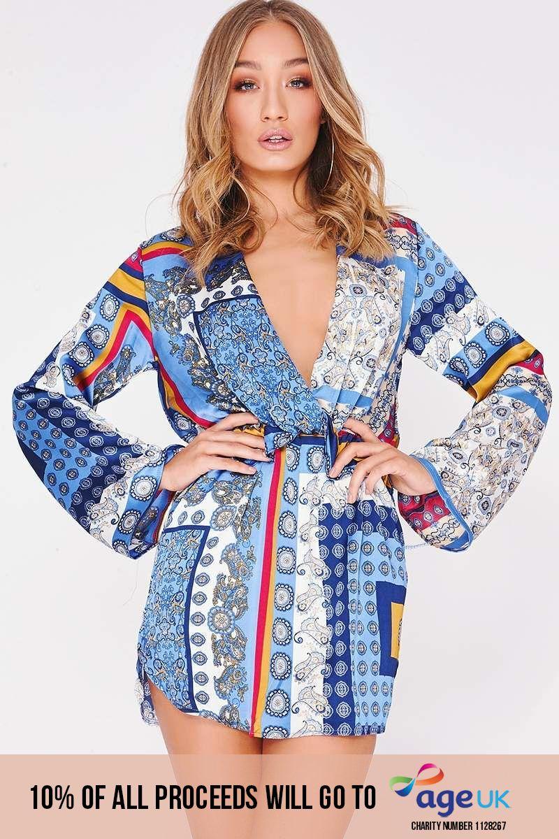 blue satin scarf print wrap dress