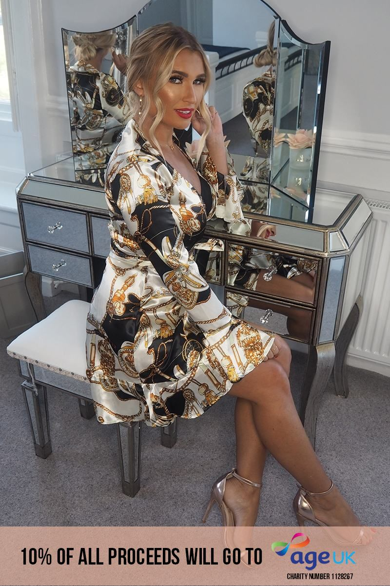chain print wrap over frill dress